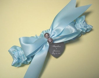 Personalized Blue Wedding Garter in Satin with Swarovski Crystals and Engraving
