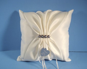 Wedding Ring Bearer Pillow, Personalized, Engraved and In Your Custom Wedding Colors with Swarovski Crystals