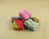 6 Recycled Fabric 1:12 scale Miniature Fat Quarter Bundles