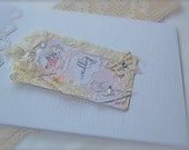 Final INVOICE for CLAIRE Vintage Theme Wedding Handmade Pocketfold Wedding Invitation and gift tags