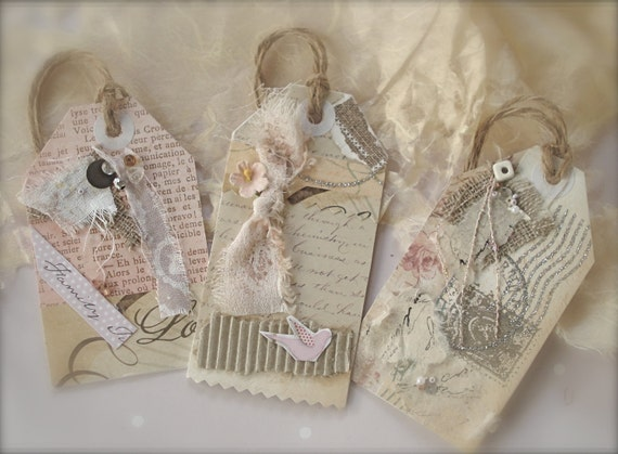 French Wedding Gifts: 12 Vintage Themed Wedding Tags FRENCH Shabby Chic By