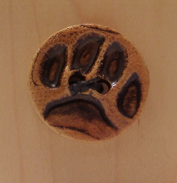 30% OFF SALE - Ceramic Bear Paw Button -  Brown Benefits Children's HIV Charity