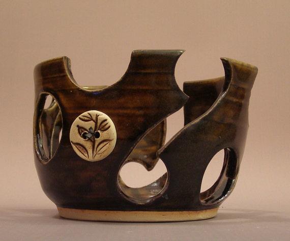 SUPER SALE Handmade Ceramic Yarn Bowl Dark Brown with Leafy Button