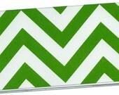 Checkbook Cover - Bright Green Chevron Stripes - duplicate check book cover 2a