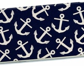 Checkbook Cover - Preppy Navy Blue and Ivory Anchors check book cover checkbook holder 10a