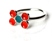 Resin and Sterling Silver Ring Orange and Blue Circles Size  5 1/4