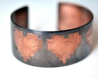 Hearts in 8 Bit Etched Cuff Bracelet Copper