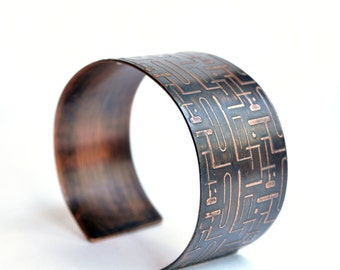 Copper Cuff Bracelet Abstract Mod Etched