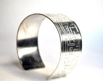 Sterling Silver Mod Etched Cuff Bracelet