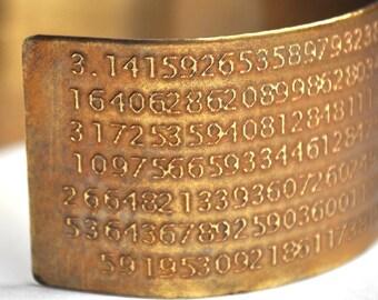 Pi Cuff Bracelet Etched in Brass