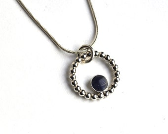 Sterling Silver and Purple Resin Necklace