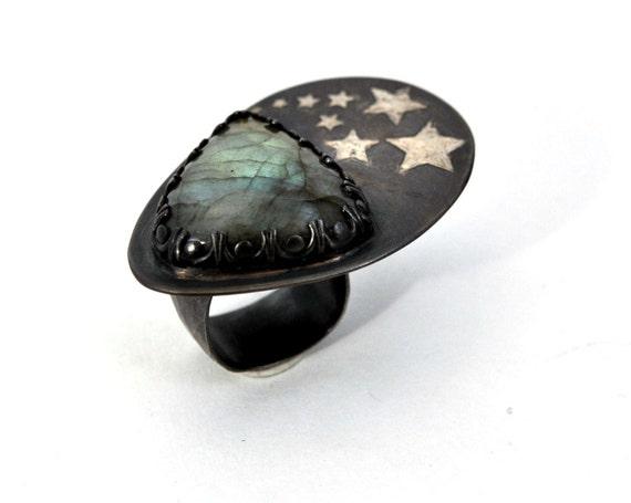 Labradorite Sterling Silver Ring Starburst