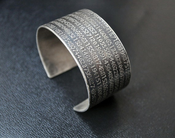 Pi Cuff bracelet etched in sterling silver