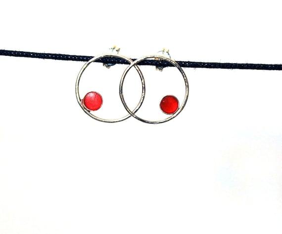 Sterling Silver and Resin Hoop Earrings