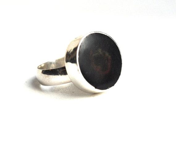 Black Resin in Sterling Silver