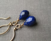 Faceted Lapis Briolettes and Gold-Filled Earrings