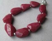 Gemstone Bracelet, Faceted Jade Nugget and Sterling Toggle Bracelet