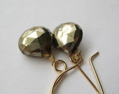 Pyrite Earrings, Faceted Pyrite Briolette Gold-Filled Earrings Under 50