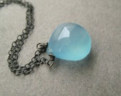 Chalcedony Necklace, Faceted Blue Chalcedony Briolette Oxidized Sterling Silver Chain Necklace Under 50 Etsy Free Shipping