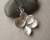 Silver Flower Necklace, Silver-Plated Brass Flower Oxidized Sterling Silver Chain Necklace