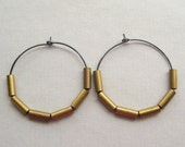 Brass Hoop Earrings, Brass Tubes Oxidized Sterling Silver Hoop Earrings Under 25