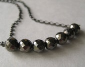 Pyrite Necklace, Faceted Pyrite Gemstone Oxidized Sterling Silver Chain Necklace