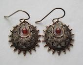 Vintage Brass Earrings, Brass Charm Faceted Carnelian Earrings