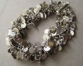 Brass Disc Bracelet, Multi-Strand Sterling Bracelet, Brass Cluster, Matte Silver, Modern Jewelry