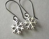Sterling Snowflake Earrings, Sterling Silver Snowflake Charm Oxidized Sterling Silver Earrings Under 25