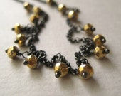 Pyrite Necklace, Faceted Pyrite Oxidized Sterling Silver Chain Necklace
