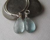 Gemstone Hoop Earrings, Faceted Moss Aquamarine Briolette Sterling Hoop Earrings
