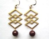 Brass Diamond Earrings, Brass Charm Faceted Carnelian Earrings