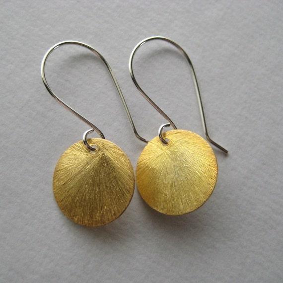 Vermeil Earrings, Brushed Gold Vermeil Disc Sterling Silver Earrings Under 25