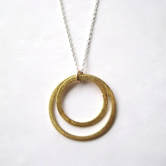 Circle Necklace, Brass Circle Sterling Silver Chain Necklace