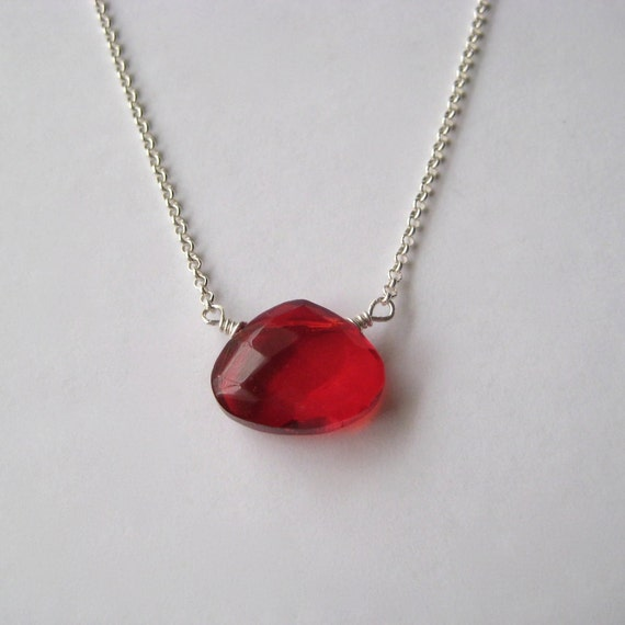 Red Briolette Necklace, Faceted Red Glass Briolette Sterling Silver Chain Necklace