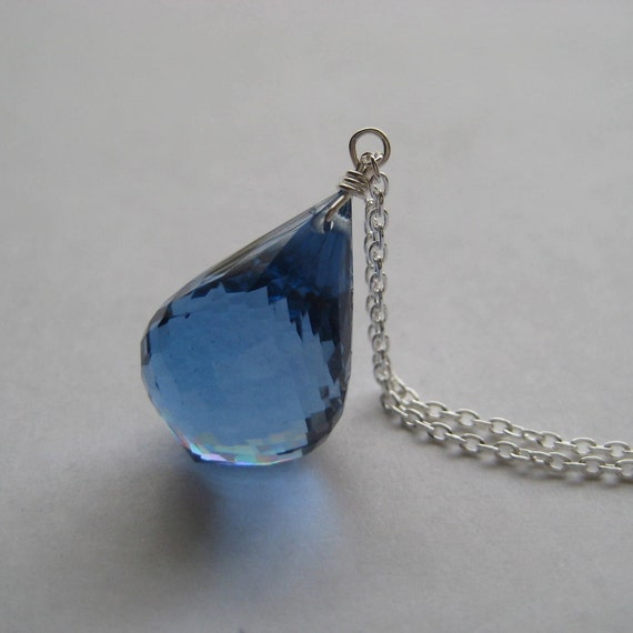 London Blue Topaz Necklace, Faceted London Blue Topaz Gemstone Sterling Silver Chain Necklace