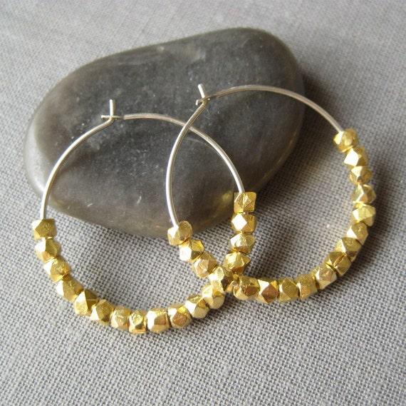 Faceted Gold Vermeil and Sterling Silver Hoop Earrings