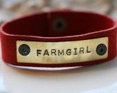 Farmgirl Leather Cuff Bracelet in Red Suede