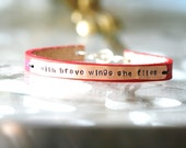 With Brave Wings She Flies...Hand Stamped...Encouragement...Celebration...Free Shipping