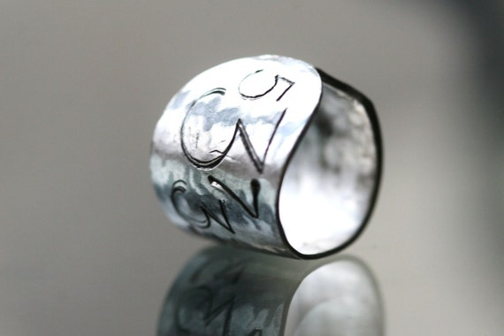 Handmade Oddly Perfect Silver Stamped Ring
