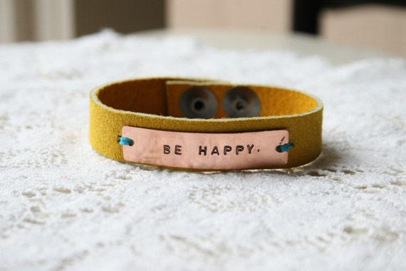 Be Happy Yellow Suede and Copper Bracelet