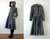 Vintage 60's Mod Wool Hooded Military Coat XS