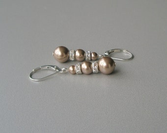 Bronze Pearl Drop Earrings, Pearl and Sterling Dangle Earrings, Pearl and Crystal Leverback , Bridesmaid Jewelry, Wedding Party Gift