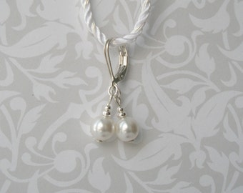 White Pearl Drop Earrings, Sterling Leverback Pearl Earrings, Pearl Bridal Earrings, Simple Earrings, Bridesmaid Gift, Wedding Jewelry,