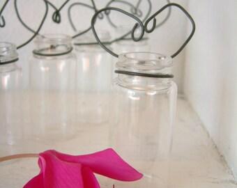 Little Bottle Vases Rustic Heart Shaped Wire Holders Wedding Favor Vase Party Favor Vase Hanging Vase Group of 10