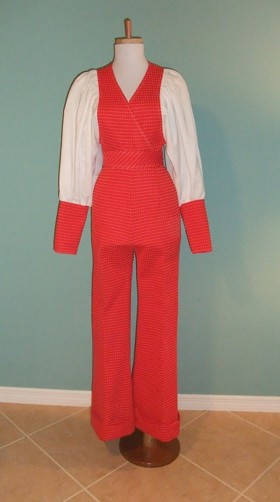 Vintage fire truck Red Jumpsuit with polkadots