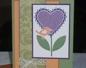 Sweetheart Glittering Flower and Bird - Blank note card.
