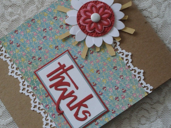 Thanks - Blank Note Card on Craft Paper