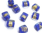 6 VENETIAN BLUE WITH 24K GOLD LINING 8X7 MM