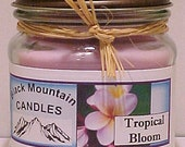 TROPICAL BLOOM 8 ounce Handmade Soy Candle Black Mountain Candles